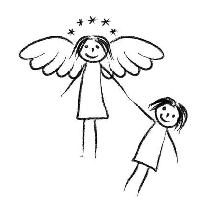 Drawing of angel and child