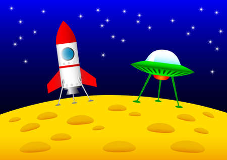 Rocket and UFO on the Moon  Stock Vector - 13753552