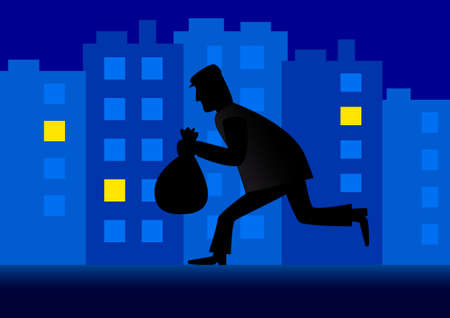 Thief in the city  Stock Vector - 13753562
