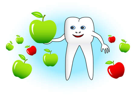 vitamine: White tooth with apples