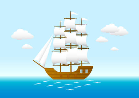 schooner: Sailboat on blue sea Illustration