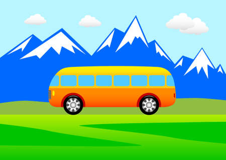 Orange bus Vector
