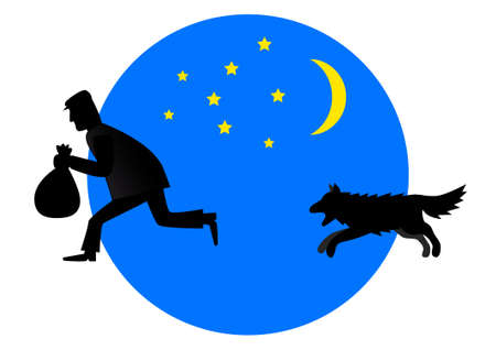 Dog and thief  Vector