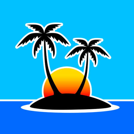 Silhouette of island Vector