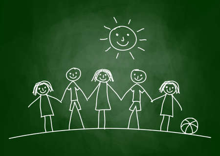Drawing of children on blackboard Illustration