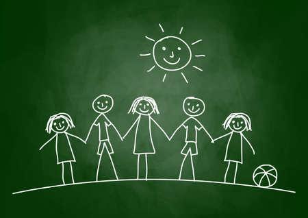 amistad: Dibujo de los niños en el pizarrón
