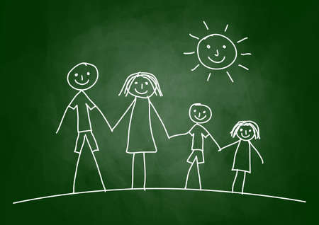 Drawing of family on blackboard Stock Vector - 13988275
