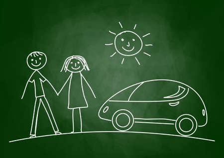 Drawing of car on blackboard Vector
