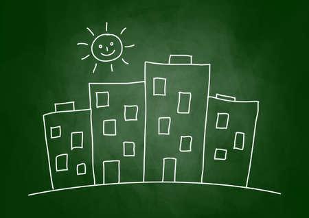 Drawing of city on blackboard Vector
