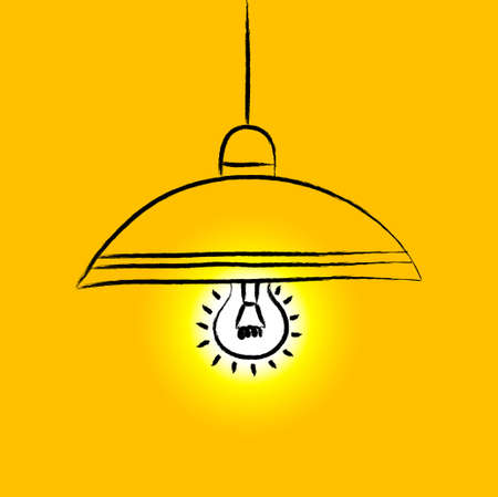 Drawing of yellow lamp Vector