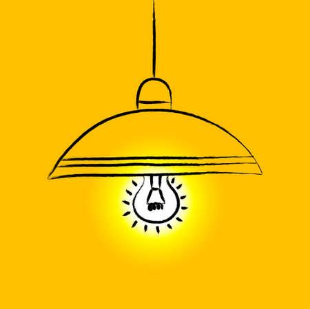 lampshade: Drawing of yellow lamp Illustration
