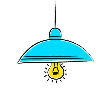 Tekening van blauwe lamp