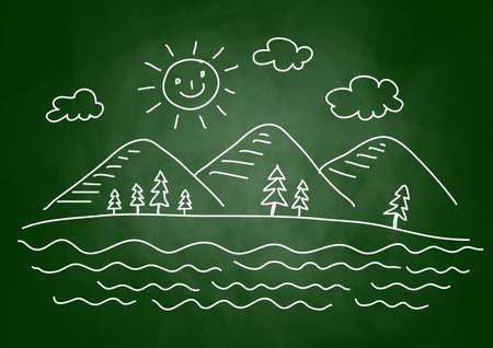 Drawing of landscape on blackboard Stock Vector - 14014166