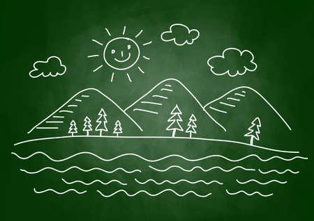 Drawing of landscape on blackboard Vector