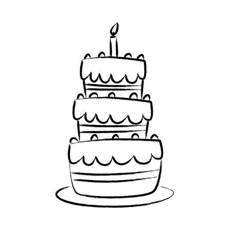 decorated cake: Drawing of cake