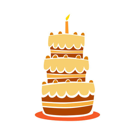 decorated cake: Chocolate cake on white background       Illustration