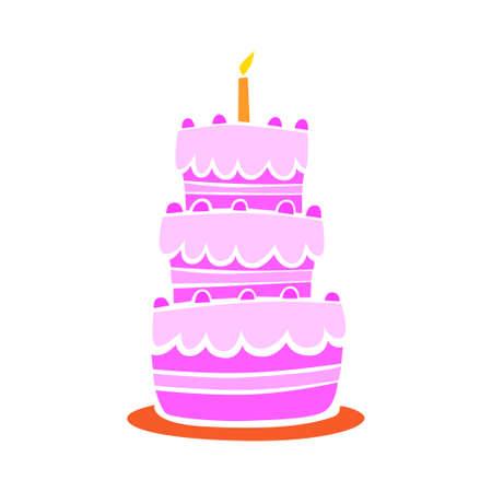 Strawberry cake on white background Stock Vector - 14014171