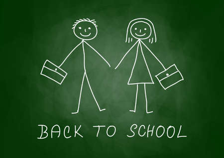 Drawing of children on blackboard Stock Vector - 14014180