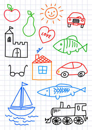 Drawings on squared paper       Vector