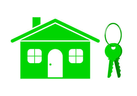 House and keys on white background Vector