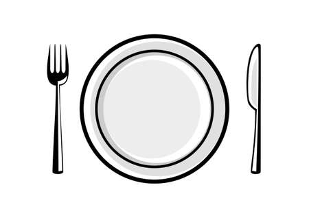 Plate and cutlery on white background