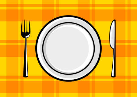 Plate and cutlery on orange cloth Vector