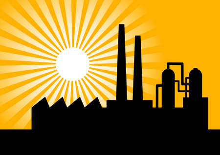 industrial complex: Black silhouette of factory Illustration