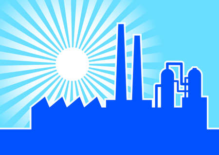 industrial complex: Blue silhouette of factory