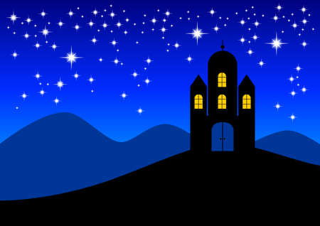 Castle in night landscape Stock Vector - 14105762