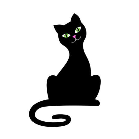 cat illustration: Black cat