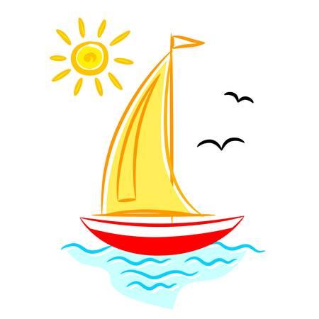 tall ship: Sailboat on blue sea Illustration