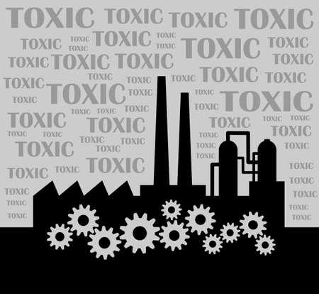 industria quimica: Fábrica Negro Vectores