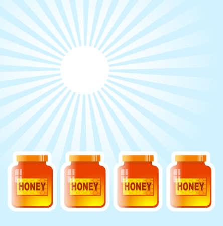 Honey jar on blue background     Vector