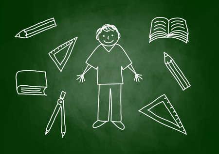 Drawing of boy on blackboard Stock Vector - 14377054