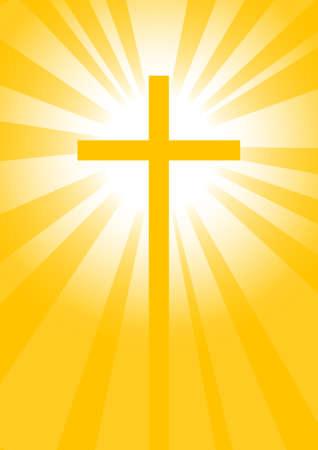 Cross on yellow background Vector