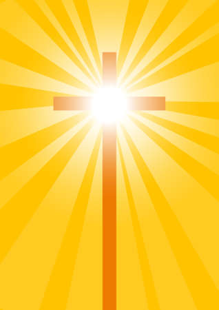 Cross on yellow background Vector