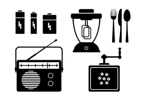 portable radio: Iconos negras sobre un fondo blanco Vectores