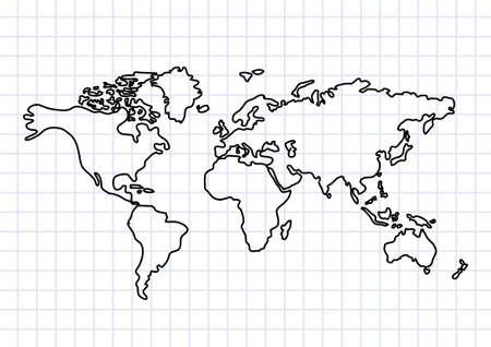 carte europe: Dessin de la carte sur papier quadrill�