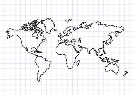 world map outline: Drawing of map on squared paper