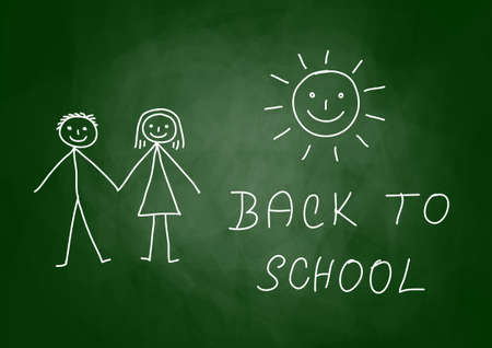 Drawing of children on blackboard Stock Vector - 14490903