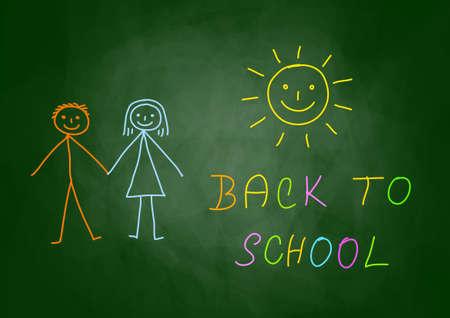 Drawing of children on blackboard Stock Vector - 14533351