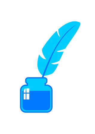 Blue quill and blue ink Vector