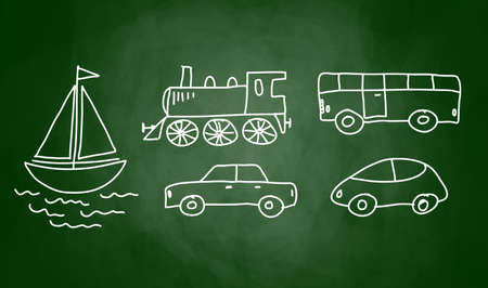 Traffic sketches on blackboard Vector