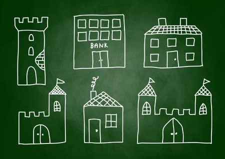 Drawing of buildings on blackboard      Vector