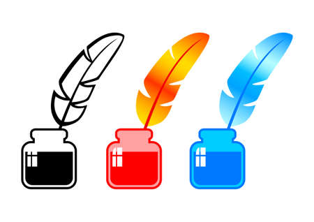 Quill with ink Vector