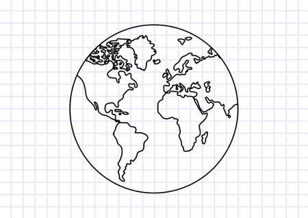 tierra caricatura: Dibujo de la Tierra sobre papel cuadriculado