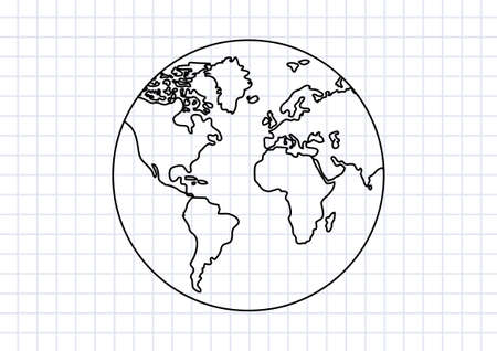 cartoon earth: Drawing of Earth on squared paper