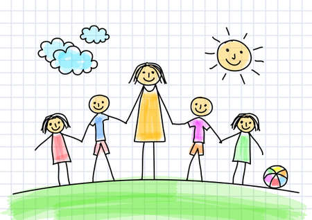 Teacher with children  Vector