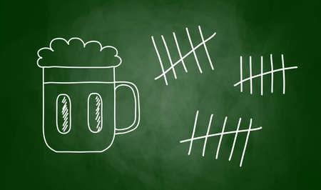 Drawing of beer on blackboard Vector