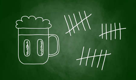 Drawing of beer on blackboard Stock Vector - 14659902